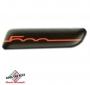 FIAT 500 badge zijkant Filo Rosso Sfondo Nero
